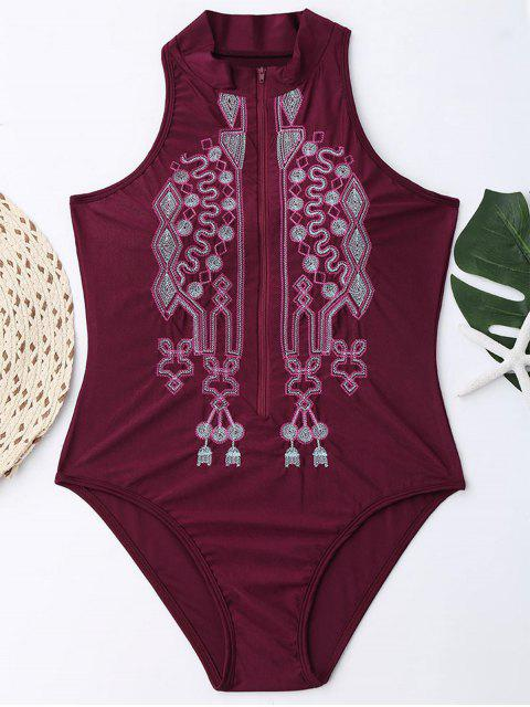 buy Zipper Fly Embroidered Plus Size Swimsuit - WINE RED 3XL Mobile