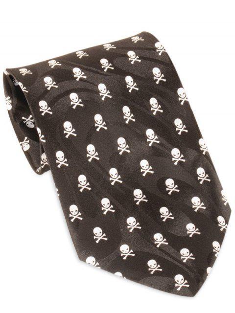 Halloween-Spaß-Schädel gedruckte Breite Krawatte - Schwarz  Mobile