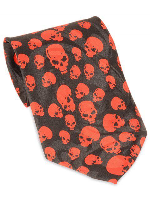 Cravate décorée par motif de crâne Halloween - Noir  Mobile