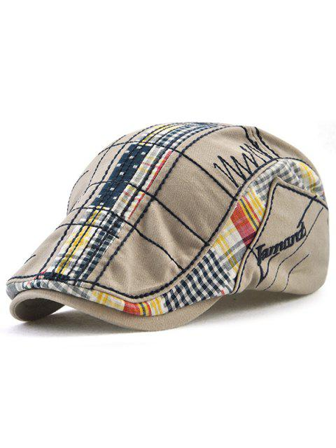 ladies Retro Tartan Embroidery Patchwork Driver Hat - GRAY  Mobile