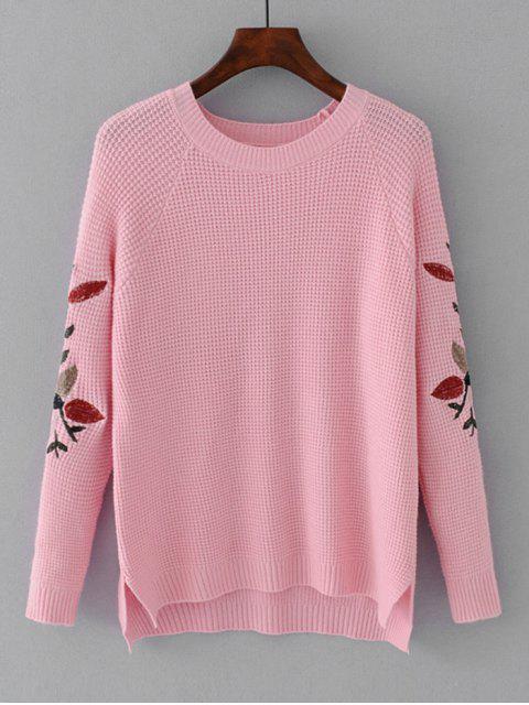 Hoher Niedriger Pullover mit Blätterstickerei - Rosa Eine Größe Mobile