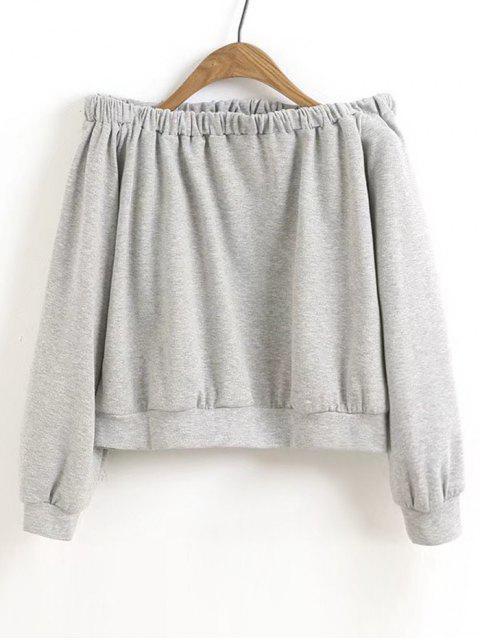 Crop Schulterfreies Sweatshirt - Grau S Mobile