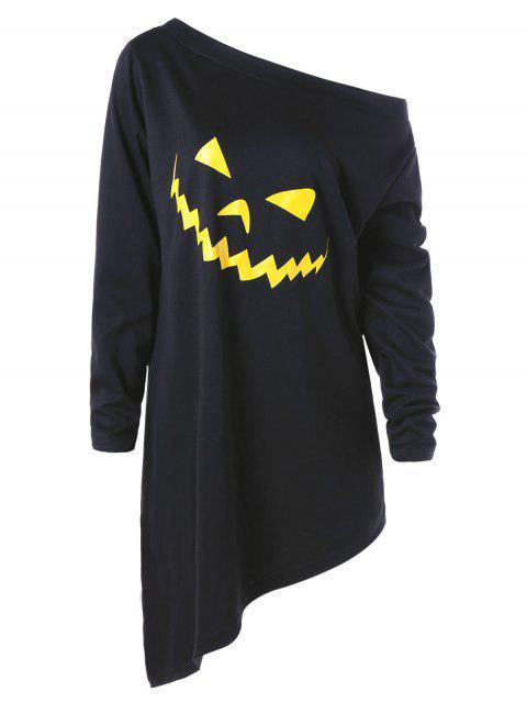 Sudadera con capucha gráfica asimétrica de Halloween con el tamaño más grande - Negro 3XL Mobile