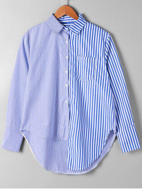 chic Patch Pocket Striped Asymmetrical Shirt - BLUE STRIPE XL Mobile
