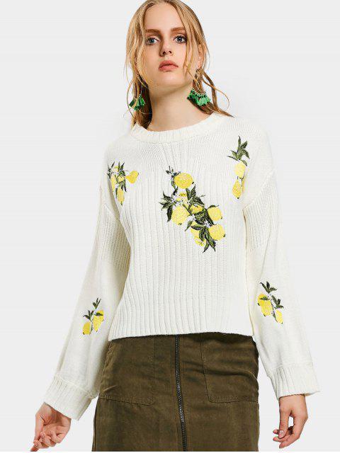Cuello de tripulación Gráfico gota hombro suéter - Blanco S Mobile