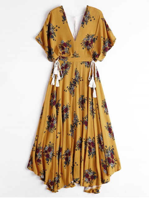 chic Batwing Floral Cut Out Midi Dress - YELLOW M Mobile