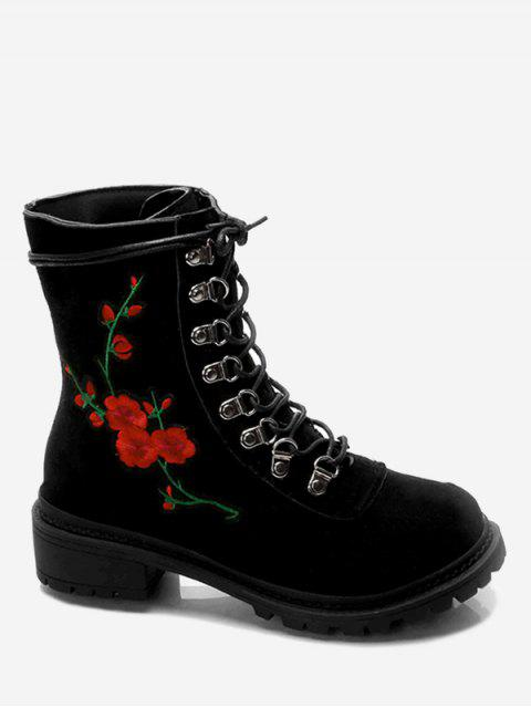 women Metal Floral Embroidery Chunky Heel Ankle Boots - BLACK 35 Mobile