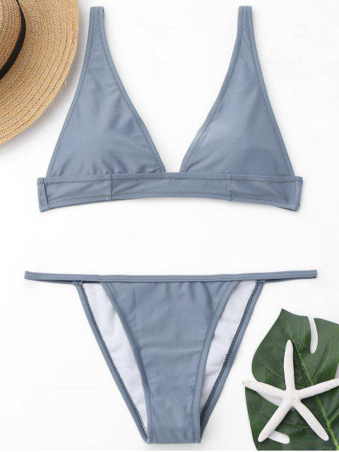 Plunge Ausschnitt Bralette String Bikini Set - Grau M Mobile