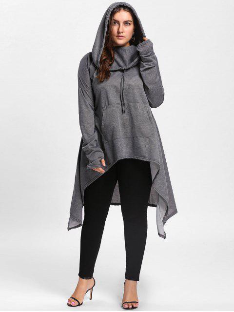 women Plus Size Funnel Collar Maxi Asymmetric Hoodie - DEEP GRAY 5XL Mobile