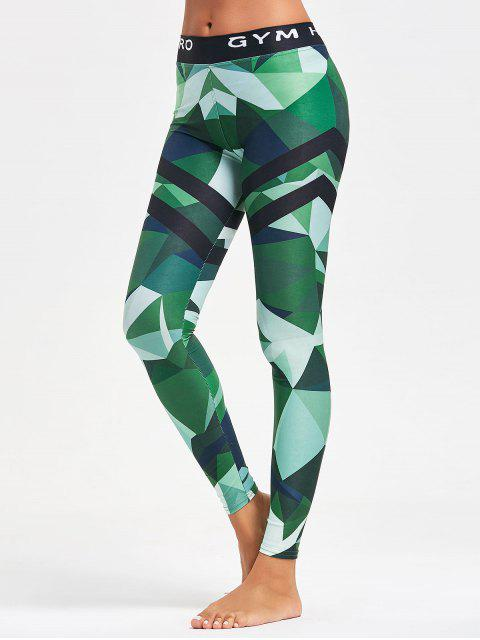 online Triangle Pattern Yoga Leggings - GREEN S Mobile