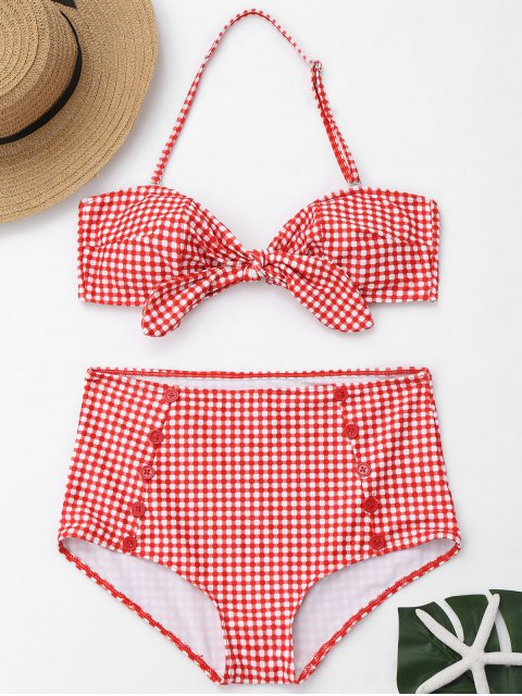 Knopf Karierter Vorder Riemchen Hoch Taillierter Bikini - Rot und Weiß L Mobile