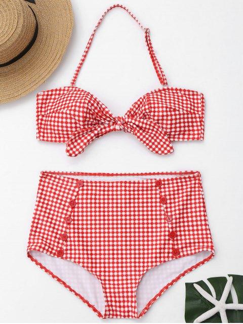 Knopf Karierter Vorder Riemchen Hoch Taillierter Bikini - Rot und Weiß S Mobile