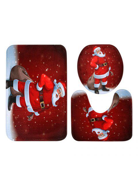 womens Christmas Santa Claus Pattern 3 Pcs Toilet Mat Bath Mat - RED  Mobile