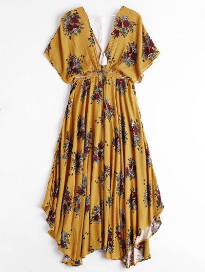 Batwing Floral recortada Midi Dress - Amarelo Xl