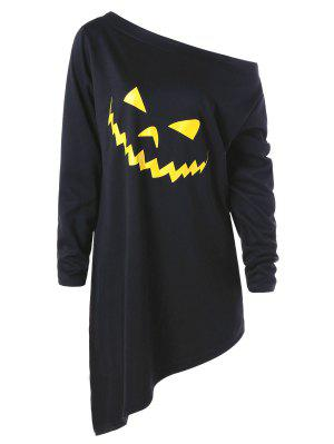 Halloween Plus Size Asymmetric Graphic Pullover Sweatshirt