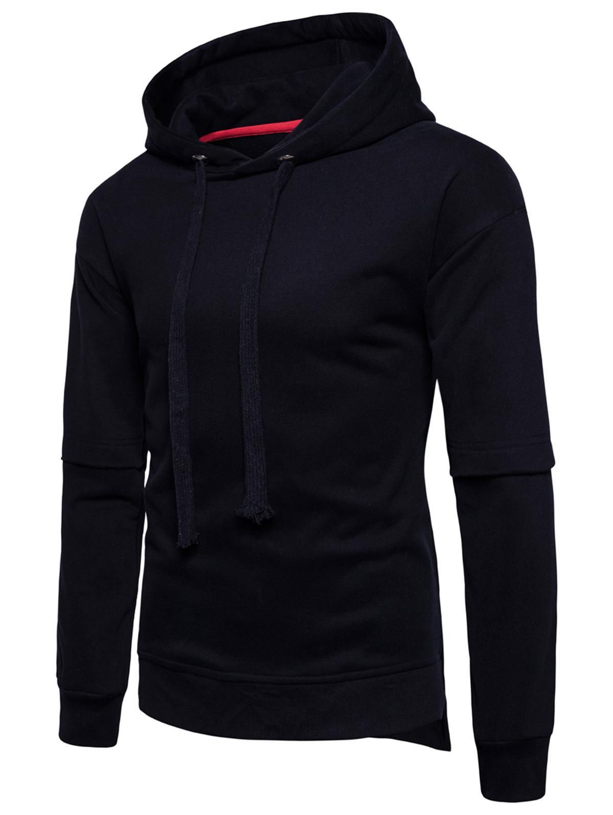 Side Slit Drop Shoulder Fleece Pullover Hoodie 227072507