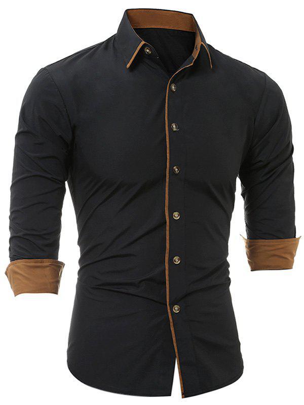 Turndown Collar De Color De Bloque Bordes De La Camisa