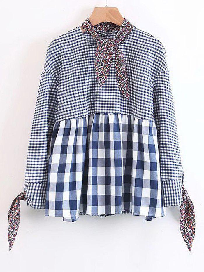 Bow Tied Loose geprft Bluse