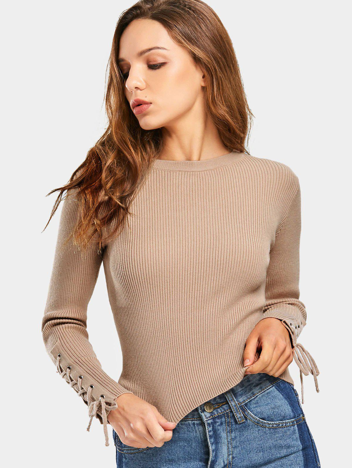 Lace Up Sleeve Ribbed Sweater 224569801