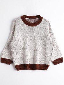 Cuello De Tripulación Chunky Sweater - Gris Blanco