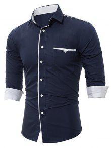 طوق طوق متفوقا قميص الجيب - Cadetblue رقم Xl