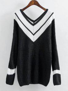 Kontrastierender Pullover Mit Streifenmuster Und V Ausschnitt - Weiß