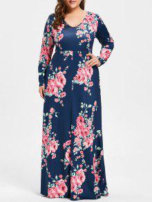 زائد حجم روز طباعة الخامس الرقبة فستان ماكسي - الأرجواني الأزرق 3xl