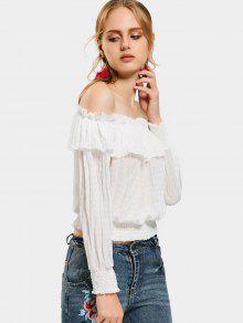 b6dd2434eb6 34% OFF] 2019 Off The Shoulder Flounce Hem Blouse In WHITE | ZAFUL