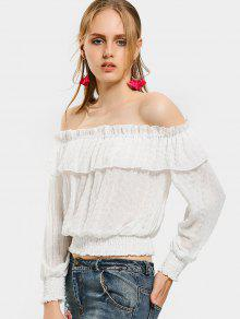4df0a090 31% OFF] 2019 Off The Shoulder Flounce Hem Blouse In WHITE | ZAFUL