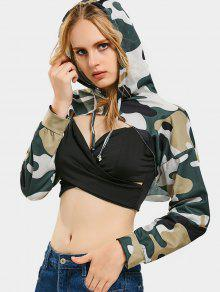 Buy Cut Camouflage Crop Hoodie - ARMY GREEN CAMOUFLAGE L