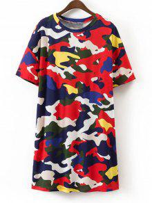 Camouflage Shift Mini T-Shirt Dress - Multicouleur S