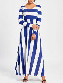 مخطط كم طويل فستان ماكسي - أزرق M