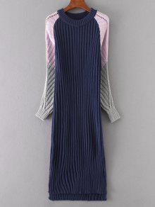 Long Sleeve Color Block Shift Sweater Dress - PURPLISH BLUE ONE SIZE