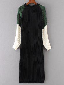 فستان سويت مستقيم كتلة اللون طويلة الأكمام - أسود