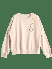 Sunflower Embroidered Sweatshirt APRICOT Sweatshirts ONE SIZE
