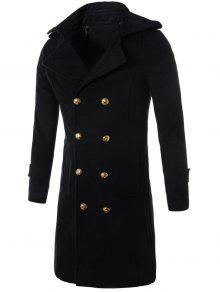مزدوجة الصدر لونغلين الصوف مزيج خندق معطف - أسود 3xl