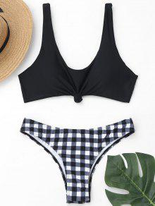 Scoop Knotted Bikini Top Y Pantalones A Cuadros - Negro M