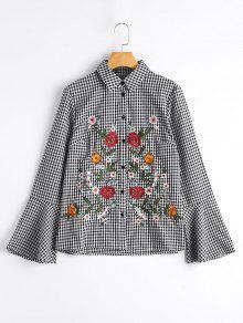 Camisa Bordada Floral De La Manga De La Llamarada - Comprobado M