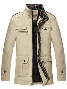 سترة زيب أوب تصميم الكتفية رفرف جيب  - اللون البيج Xl