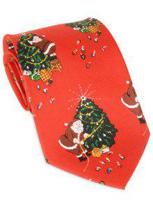 Lazo Del árbol De Navidad De Papá Noel Allover Corbata Personalizada - Rojo