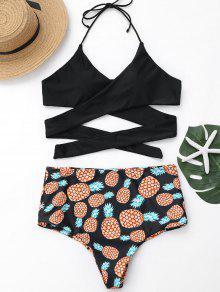 زائد الحجم الأناناس طباعة التفاف بيكيني ملابس السباحة - أسود 3xl