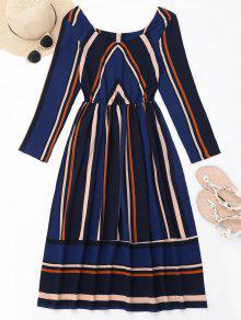 فستان طويلة الأكمام مخطط ميدي - ازرق غامق L