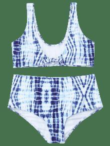 Bikini Blanco De 3xl Anudado Te Y ido Cintura Alta Azul wwqSrTOn