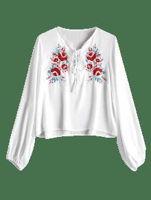 Floral Blusa Blanco Ata Bordada La M Loose FH6Iw