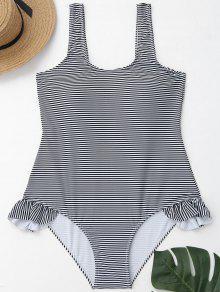 لباس السباحة الحجم الكبير انخفاض الظهر مخطط كشكش - أبيض وأسود 3xl
