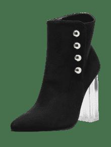 chunky heel transparent stud ankle boots noir bottes et bottines 37 zaful. Black Bedroom Furniture Sets. Home Design Ideas