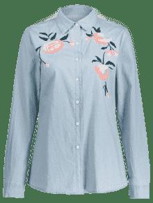 De Bordado Nublado Camisa Bot De 243;n Chambray La Encima L Floral 7650Ow