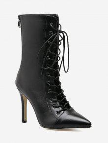 حذاء ستيليتو مدبب من الأمام مربوط بشكل متقاطع - أسود 39