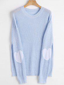 Heart Patch Elbow Pullover Sweater