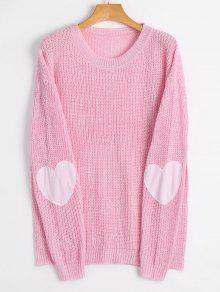 Heart Elbow Patch Pullover Sweater LIGHT PINK: Sweaters M | ZAFUL